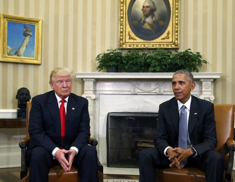 Image: U.S.  President Obama meets with President-elect Trump in the White House Oval Office in Washington
