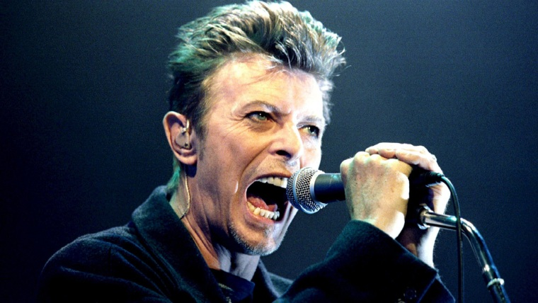David Bowie performing during a concert in Vienna