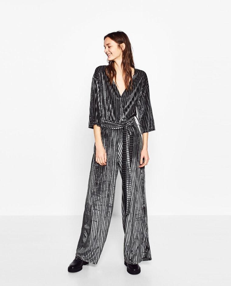 Velvet striped jumpsuit