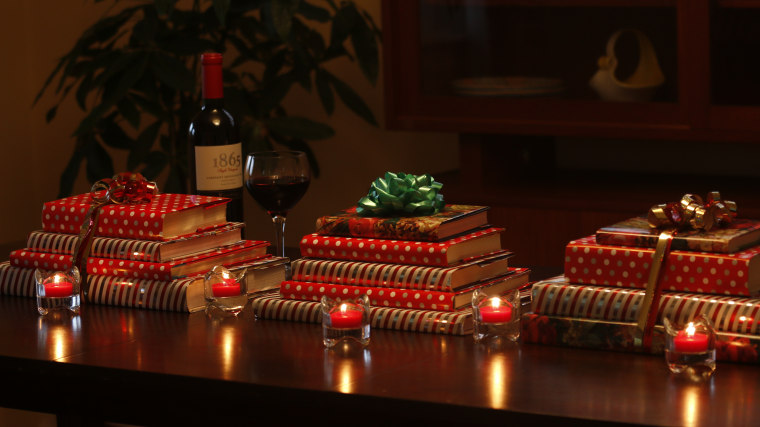 Group together a few of these stacks for a gorgeous holiday tablescape.