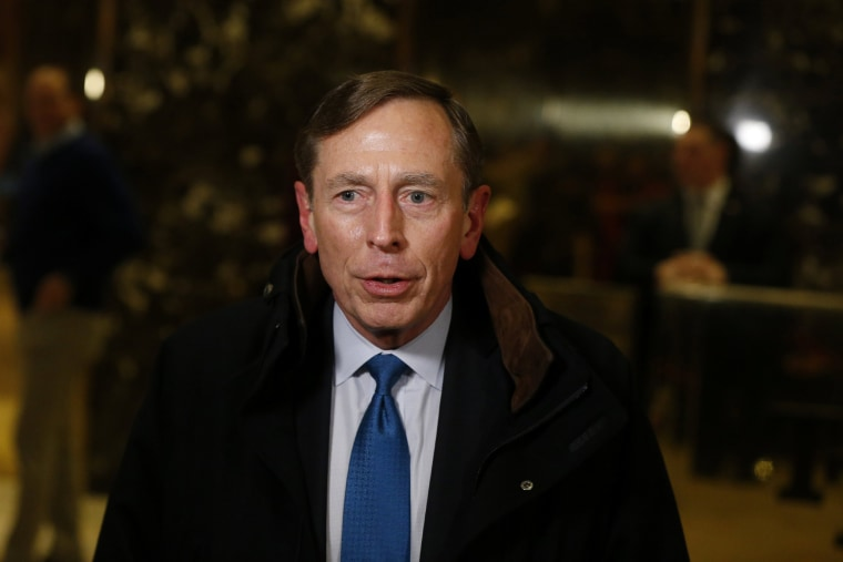 Image: Former CIA director David Petraeus speaks to the media after a meeting with U.S. President elect Donald Trump at Trump Tower New York