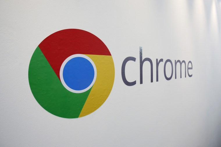 The Chrome logo is displayed at a Google event, Tuesday, Oct. 8, 2013 in New York.