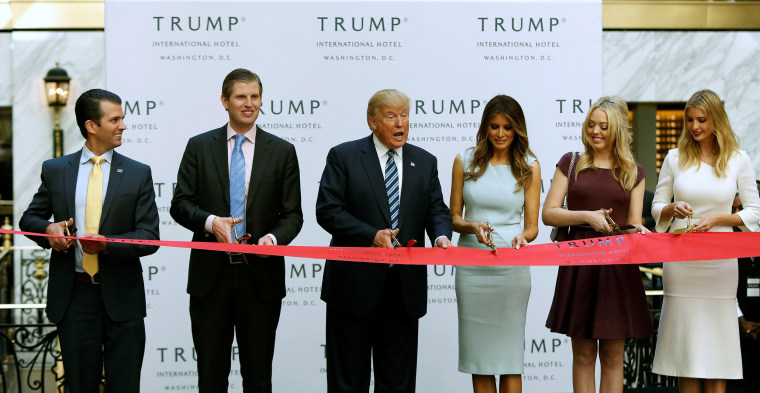 Image: Republican US presidential nominee Trump and members of his family attend official ribbon cutting ceremony in Washington