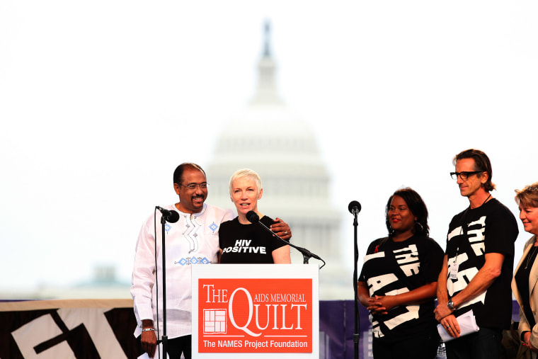 UNAIDS Executive director Michel Sidibe and Singer-Songwriter Annie Lennox at the opening on the AIDS Memorial Quilt on July 21, 2012 in Washington DC.