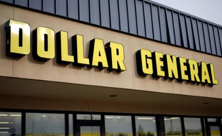 The sign outside the Dollar General store in Westminster, Colorado is pictured