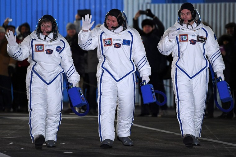 Image: KAZAKHSTAN-RUSSIA-US-FRANCE-ISS-SPACE
