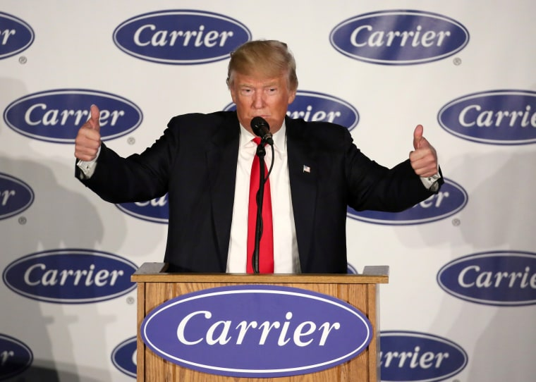 Image: U.S. President-Elect Donald Trump speaks at an event at Carrier HVAC plant in Indianapolis