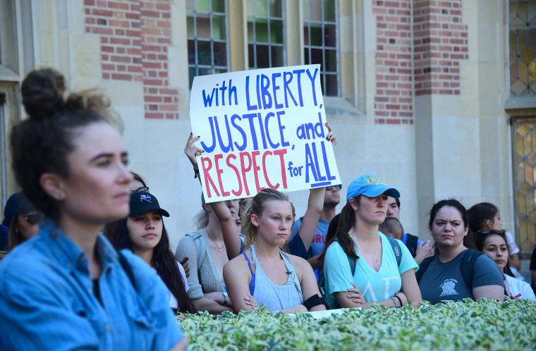 University of California Los Angeles students held an anti-Donald Trump march through campus on November 10, 2016 in Los Angeles, California.