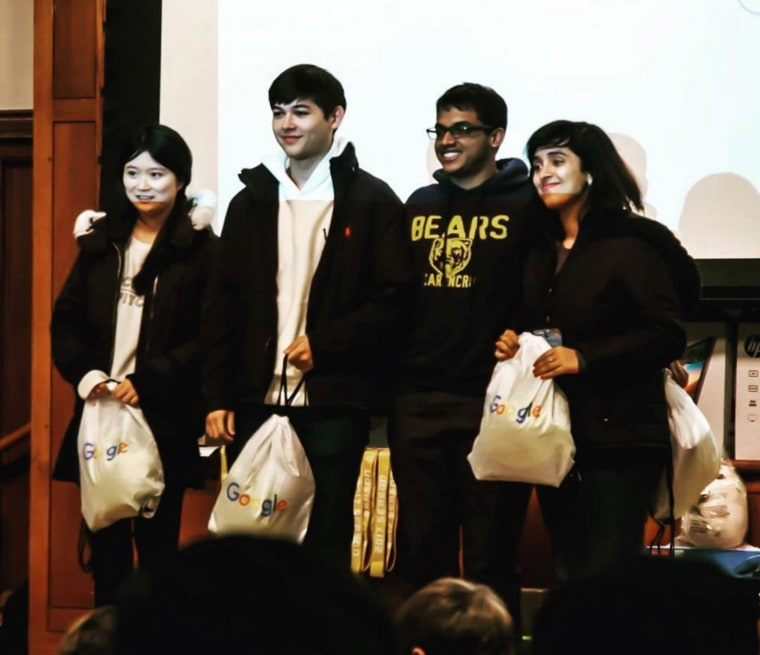 The FiB team of Qinglin Chen, Mark Craft, Anant Goel, and Nabanita De during the hackathon.
