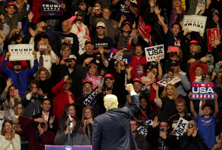"Image: Donald Trump holds ""USA Thank You Tour 2016"" rally in Cincinnati, Ohio."
