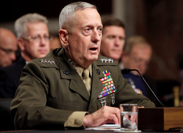 Image: File picture of Gen. James Mattis testifying before the Senate Armed Services Committee hearing