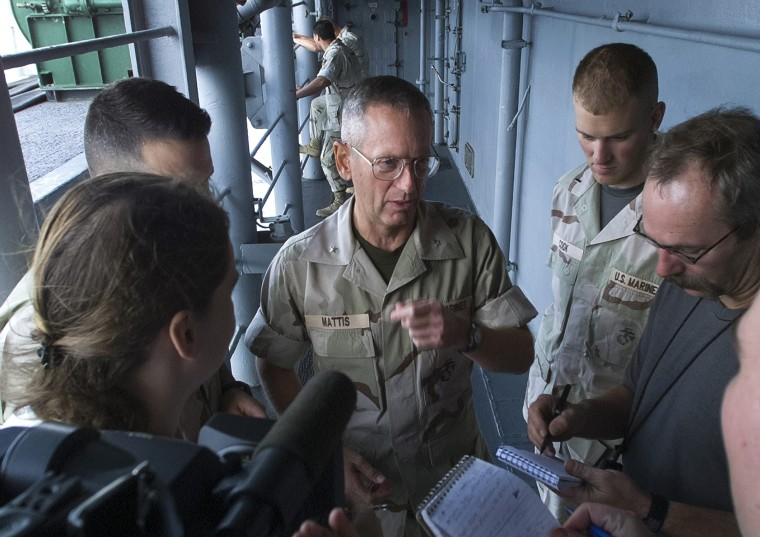 Image: James N Mattis on the USS Peleliu before Afghanistan mission