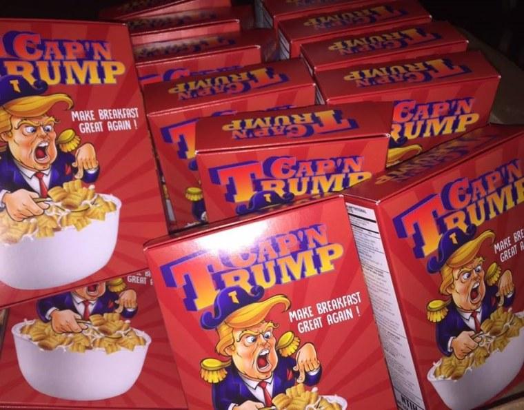 Young Immigrant Artist Creates Cap N Trump Cereal Box Art