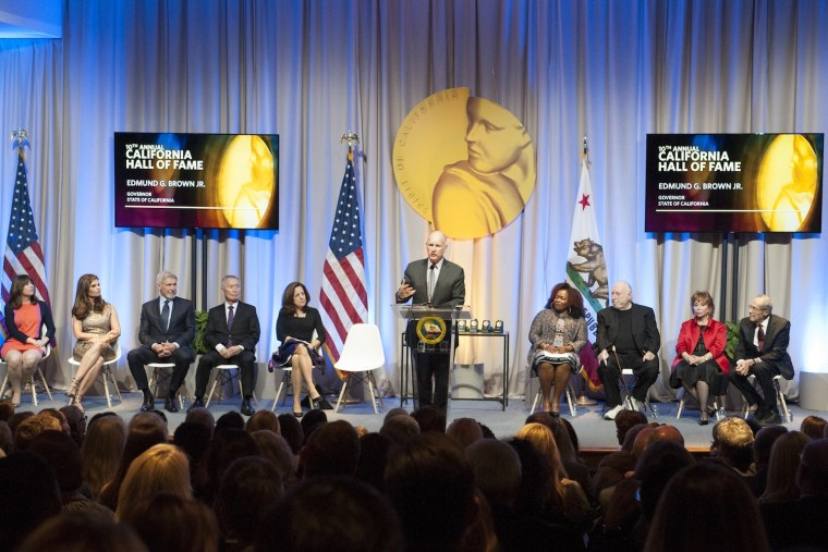California Gov. Jerry Brown speaking during a ceremony Wednesday evening inducting the California Museum's 2016 Hall of Fame members.