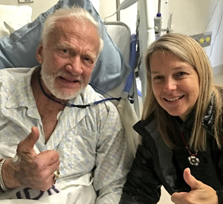 NASA Deputy Administrator Dr. Dava Newman visits astronaut Buzz Aldrin in the hospital.