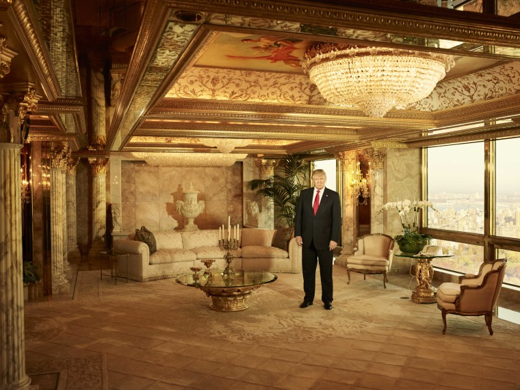 The president-elect, shown in his private living room in Trump Tower.