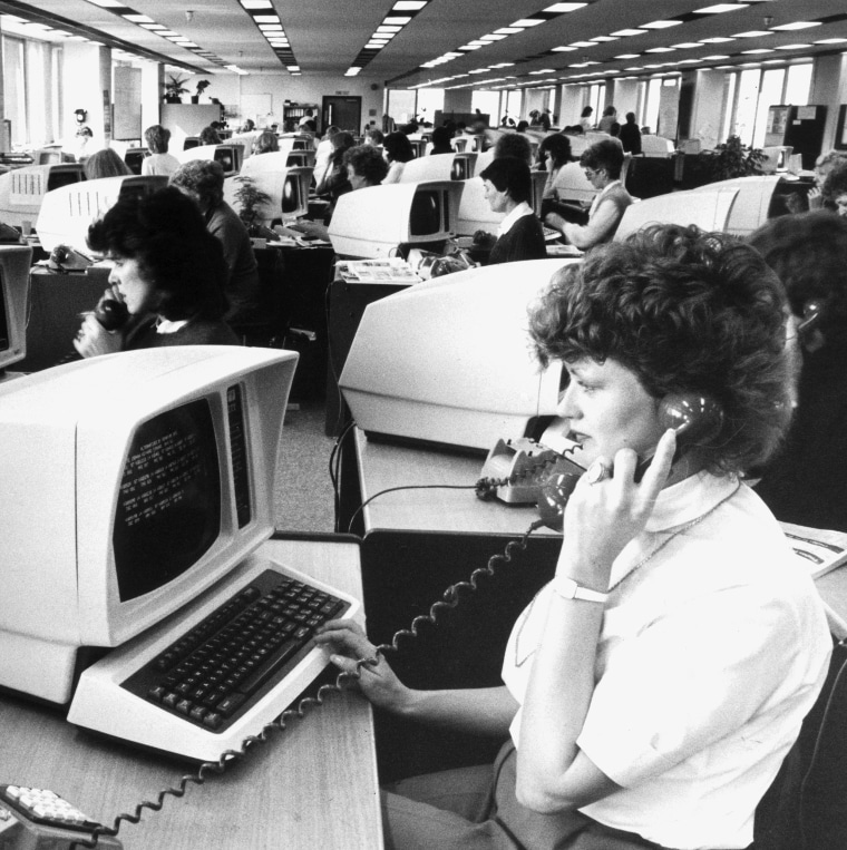 Computers in use at the Horizon travel agents, Birmingham, April 1984.