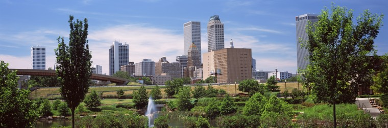 Downtown skyline from Centennial Park, Tulsa, Oklahoma, USA 2012