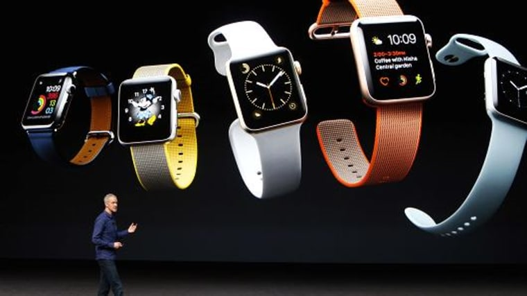 The Apple Watch Series 2 is shown onscreen at an Apple media event in San Francisco, California, U.S. September 7, 2016.
