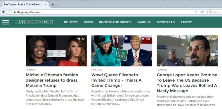Image: A fake-news version of the Huffington Post's website