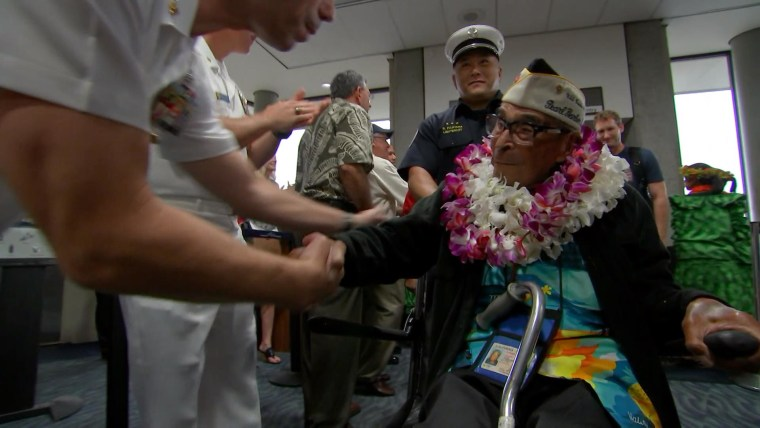 Ray Chavez receives a hero's welcome upon his arrival in Hawaii