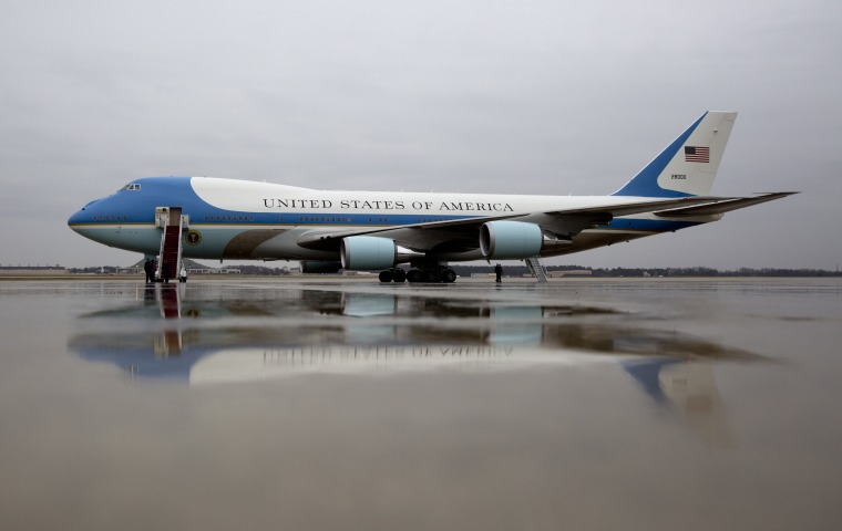 Image: Air Force One is seen on the tarmac at Andrews Air Force Base
