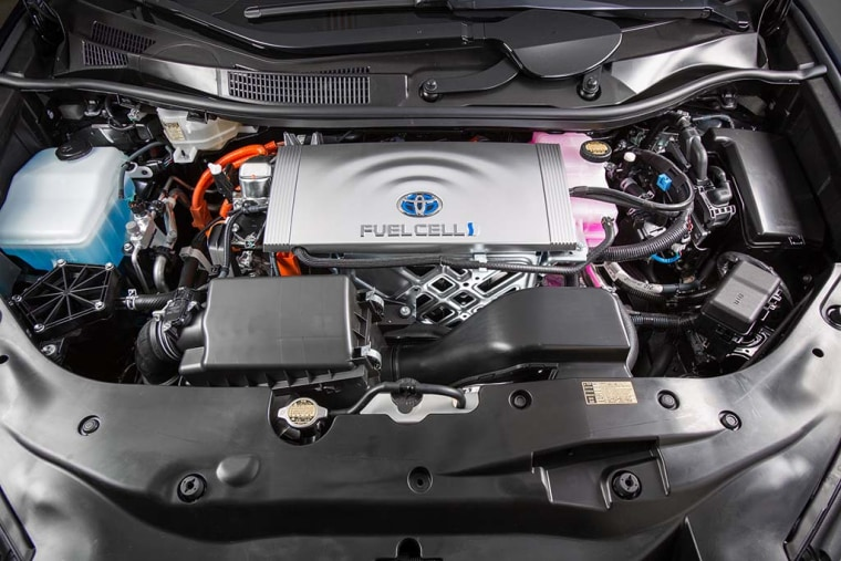 A close-up of Toyota's fuel cell technology.