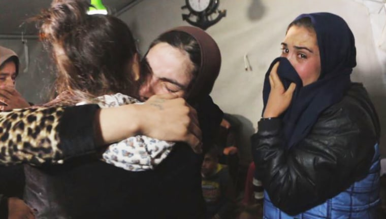 The night of her rescue from ISIS Leila reunited with some of her and her husband's relatives who had also been previously rescued from ISIS captivity.