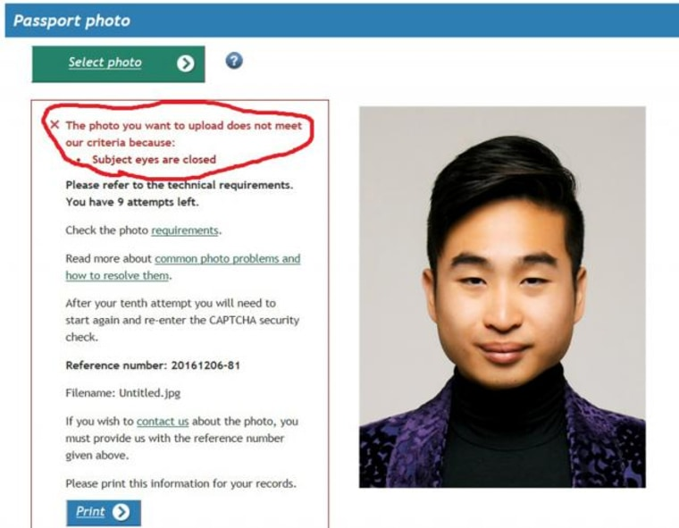 A screenshot of New Zealand man Richard Lee's passport photo rejection notice, supplied to Reuters
