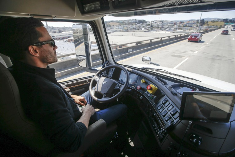 Image: Matt Grigsby, senior program engineer at Otto, takes his hands off the steering wheel