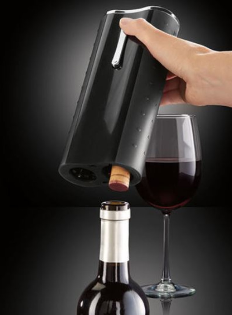 No more squeeze and pull! With Brookstone's Automatic Wine Opener, just place the device over the cork and press a button.