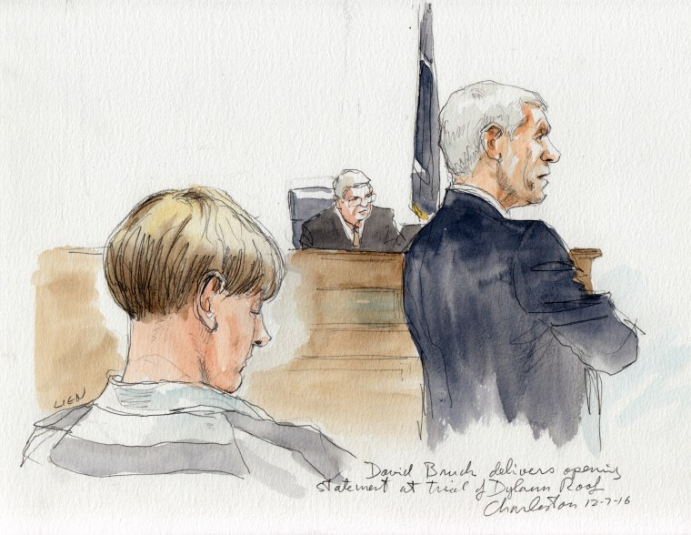 Image: Defense attorney David Bruck delivers his opening statement at the trial of Dylan Roof