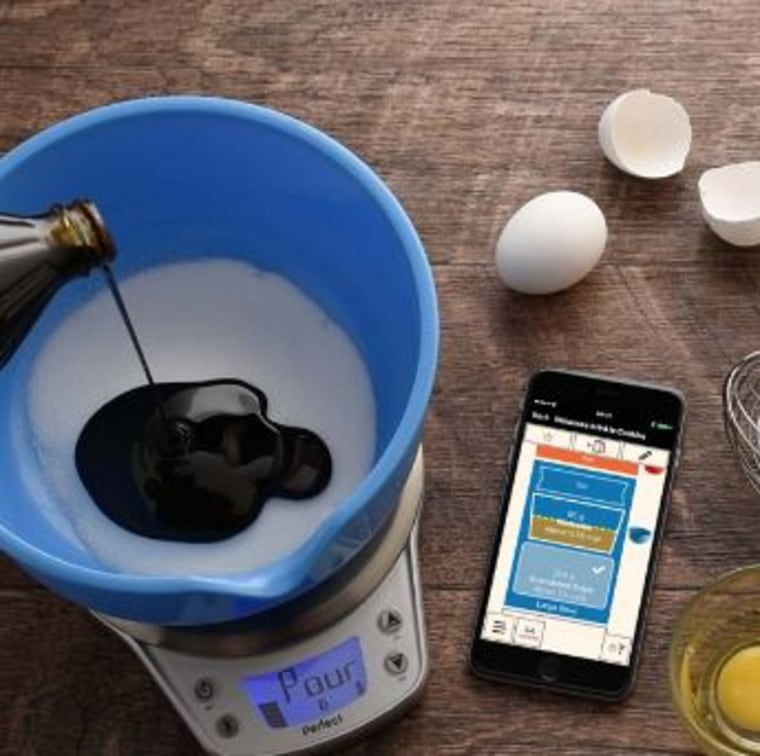 No need for measuring spoons or cups: The Perfect Bake scale connects to your smartphone to let you know when you've added the right amount of ingredients.