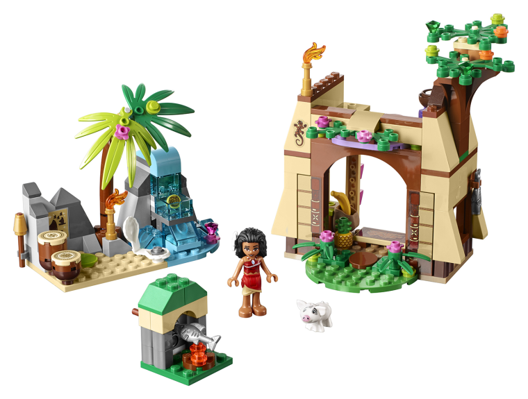 """A LEGO set based on the film """"Moana,"""" featuring the title character in an island village."""