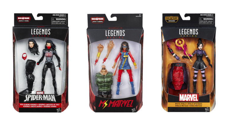 A selection of toys featuring Asian-American characters in the Marvel Legends series.