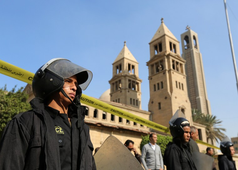 Image: Members of the special police forces stand guard