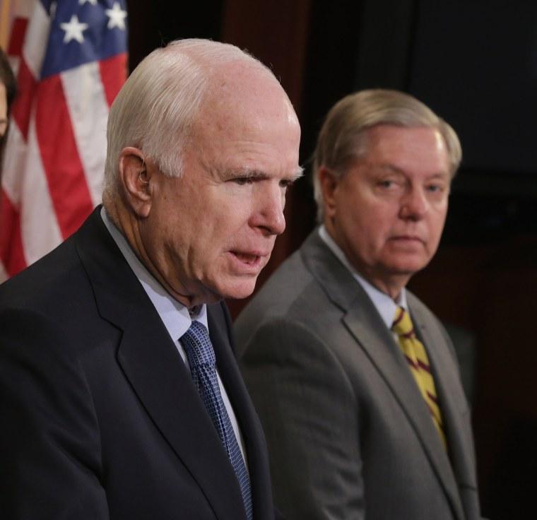 Image: Republican Senators Lindsey Graham (R-SC) (R) and John McCain (R-AZ)