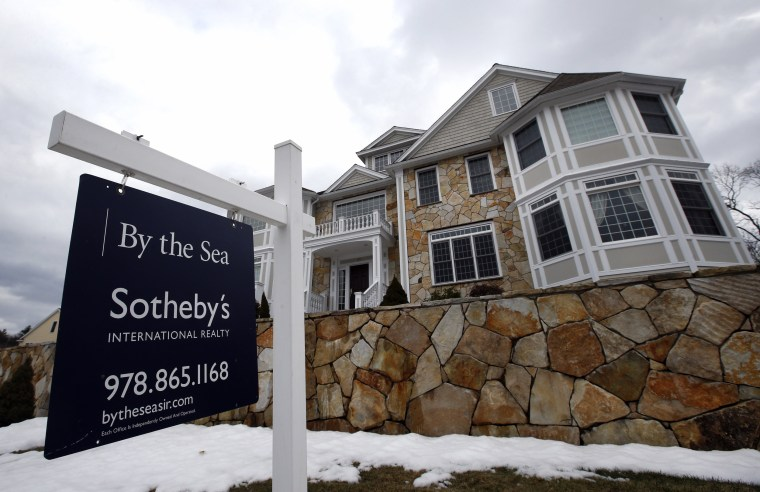 Contracts to buy homes rose in March for the first time in nine months.