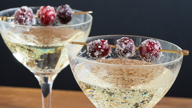 Sugared cranberries in champagne
