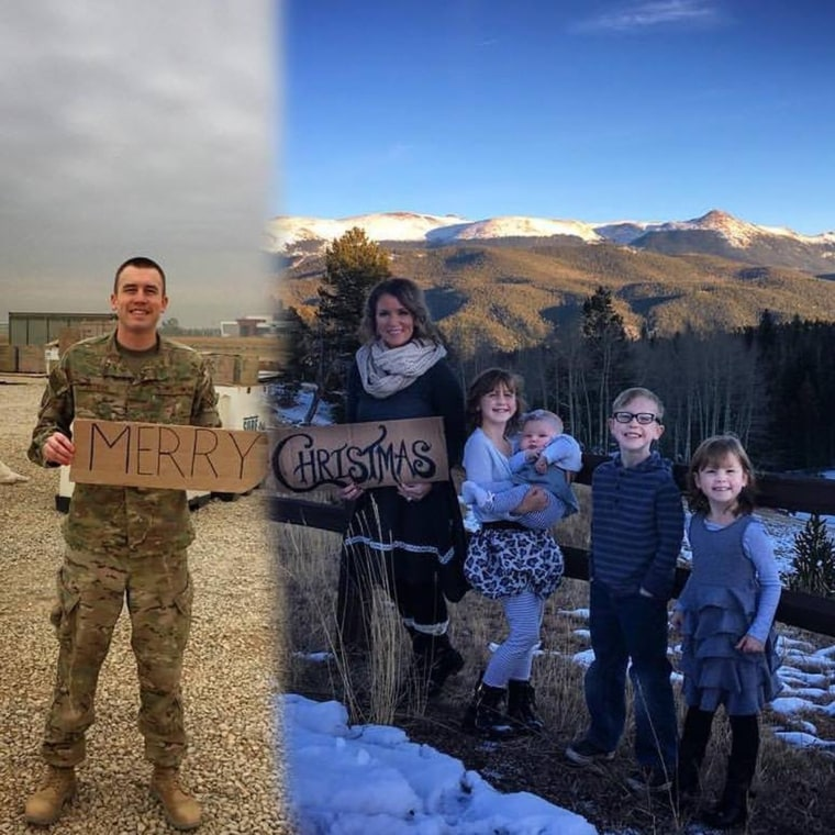 Military wife includes deployed husband in family Christmas photo