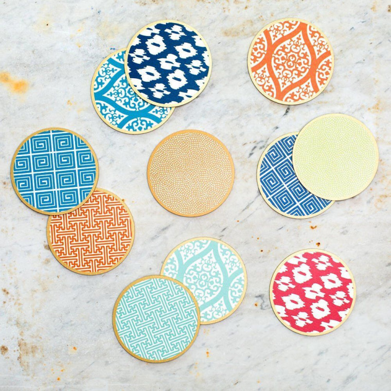 These cute coasters are hand silk-screened and would dress up any table.