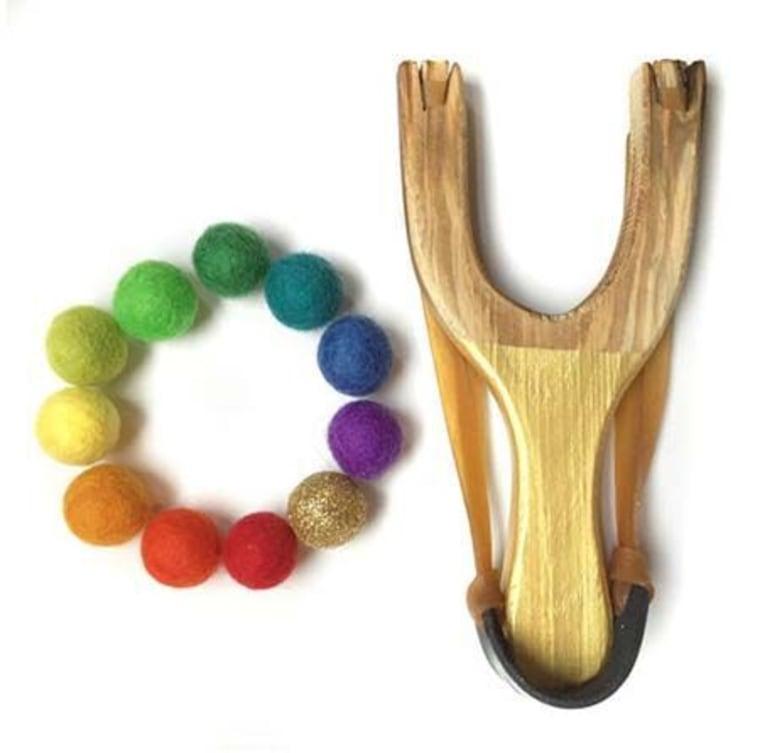 This cute slingshot set uses felt balls, so there's minimal risk for maximum fun.