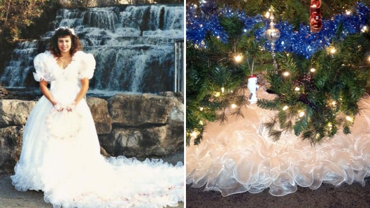 A 1980s wedding dress gets new life as a Christmas tree skirt