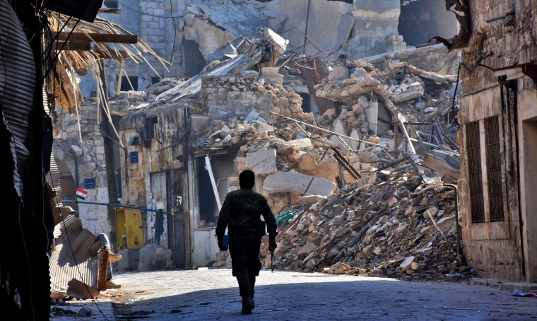 Image: A Syrian pro-government fighter walks past damaged buildings in the Bab al-Nasr district of Aleppo's Old City on Dec. 9.