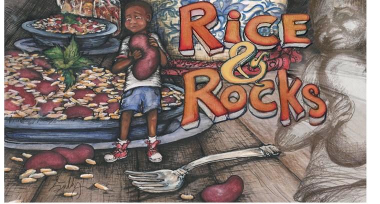"""""""Rice & Rocks"""" was inspired by author Sandra L. Richards' experience eating food in her Jamaican-American household. Illustrated by Megan Kayleigh Sullivan."""