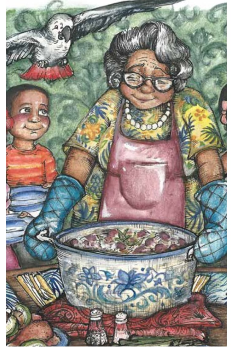 """The idea of calling beans """"rocks"""" came from Richard's nephew, Giovanni. """"Rice and Rocks"""" by Sandra L. Richards, illustrated by Megan Kayleigh Sullivan."""