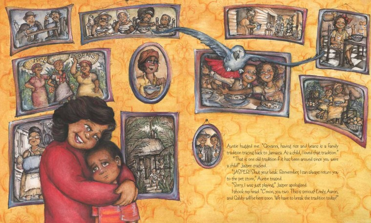 """In the book, Giovanni, who is worried that his friends will tease him because of the food being served at his home, is comforted by his aunt. """"Rice and Rocks"""" by Sandra L. Richards, illustrated by Megan Kayleigh Sullivan."""