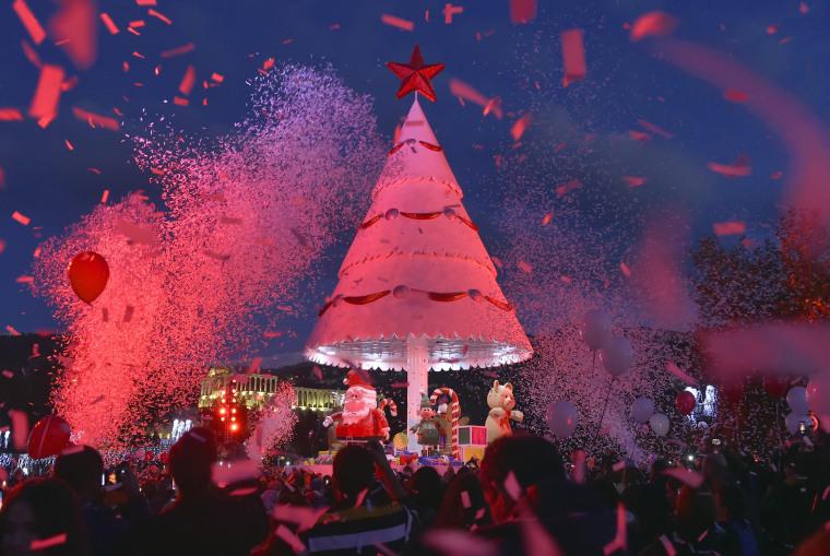 Image: Christmas tree illuminated at Bnachii Lake