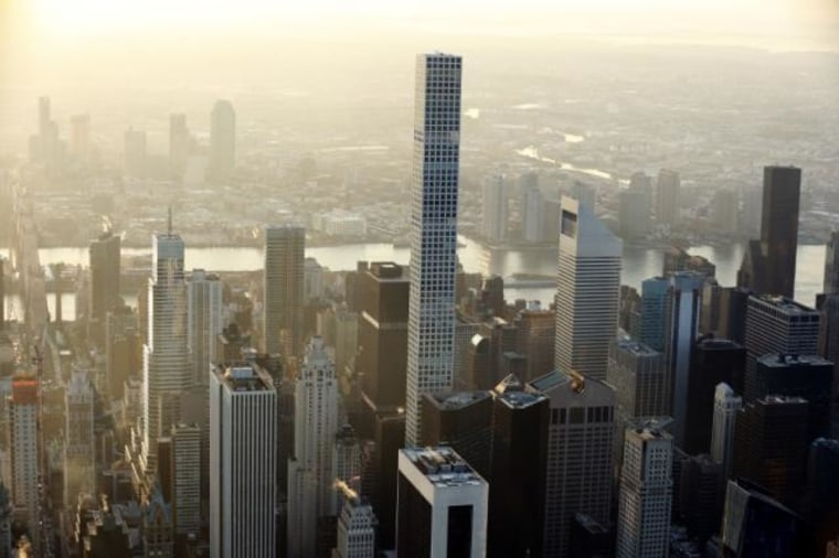 The building known as 432 Park Avenue rises above the Manhattan borough of New York