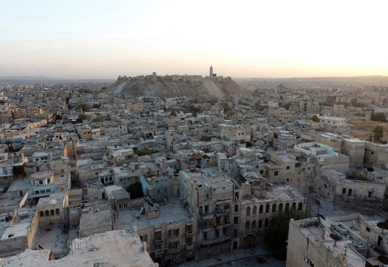 Image: A file photo of a general view taken with a drone showing the Old City of Aleppo and Aleppo's historic citadel in 2016